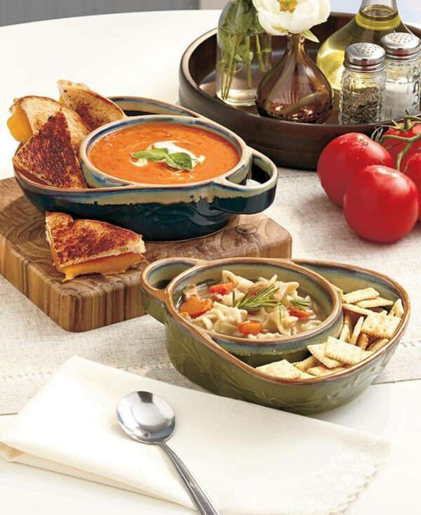 Set of 2 Cream and Red Stoneware Soup & Side Bowls - lyndaskitchen